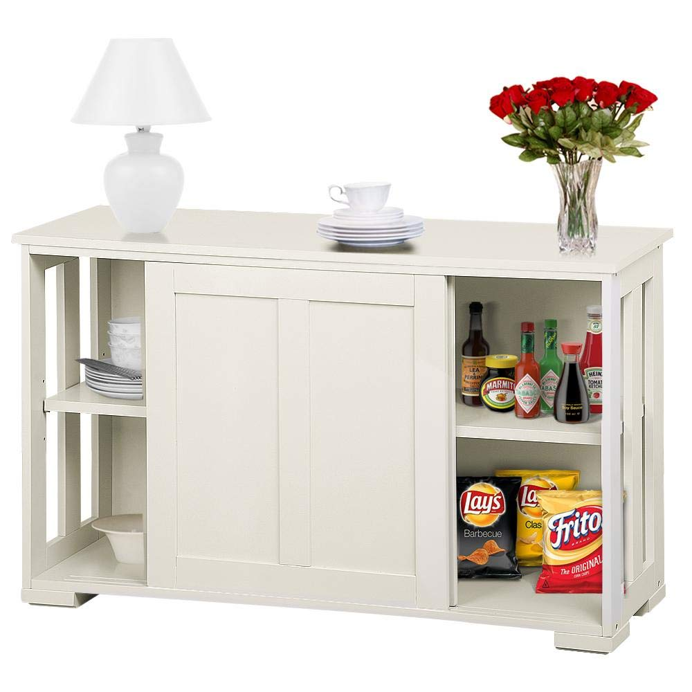 Topeakmart Kitchen Storage Sideboard - Antique White Stackable Cabinet with Sliding Door Inner Adjustable Shelf for Home Cupboard Buffet Dining Room Use by Topeakmart