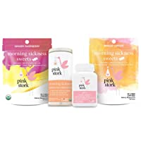 Pink Stork Morning Sickness Bundle: Nausea Relief Candy with Prenatal Vitamins +...