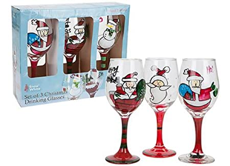 set of 3 hand painted christmas wine glasses
