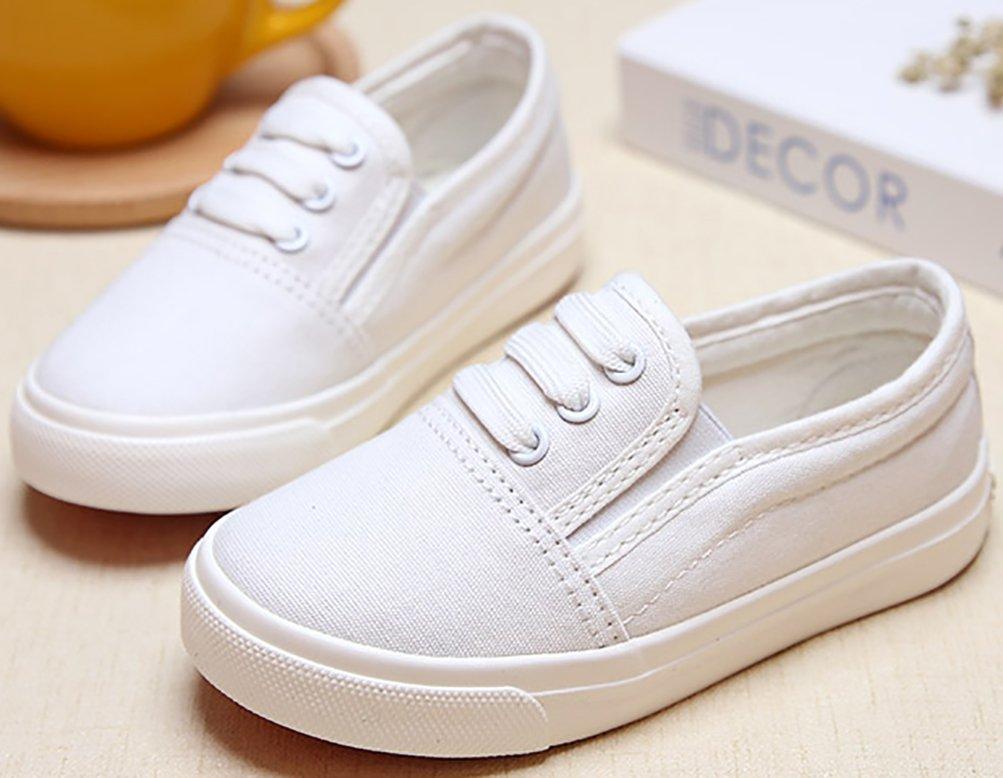 VECJUNIA Boy's Girl's Slip-On Cozy Basic Fashion Slip-Resistant Canvas Shoes (White, 13.5 M US Little Kid) by VECJUNIA (Image #5)