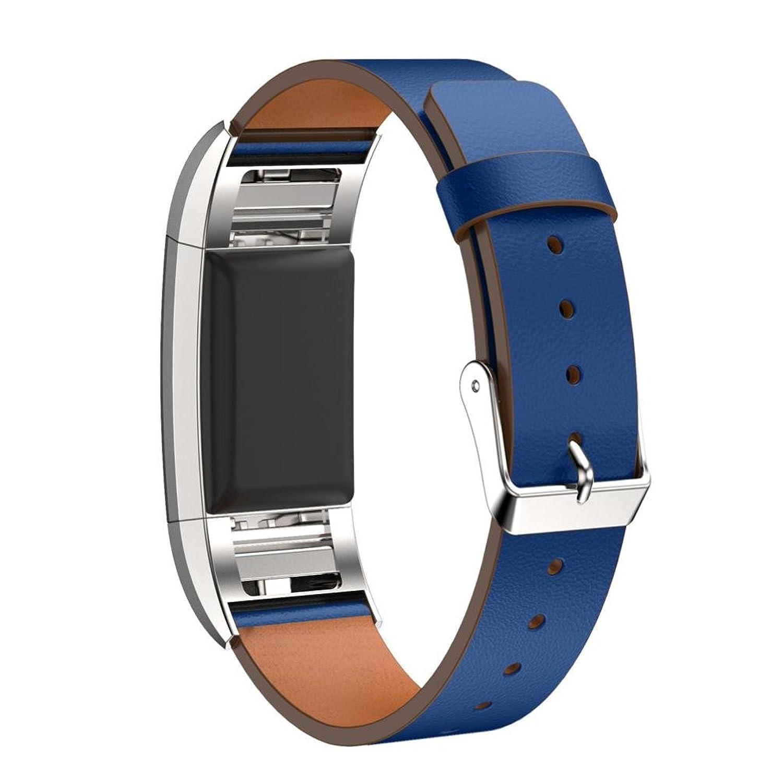 AloneA交換用高級レザーバンドストラップブレスレットfor Fitbit Charge 2 (ブルー)  B01LZQJ8O0