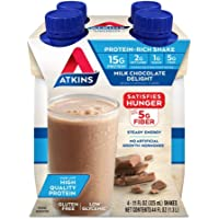 Atkins Milk Chocolate Delight Protein-Rich Shake. Rich and Creamy with High-Quality Protein. Keto-Friendly and Gluten…