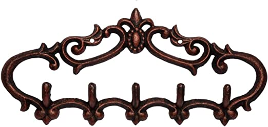 2 large Coat Hooks bath robe old fancy flower vintage farm house rustic copper