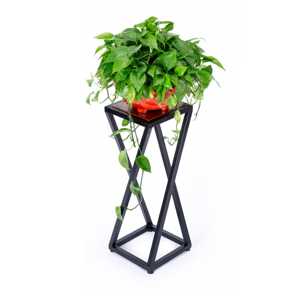 CSQ Living Room Plant Stand/Flower Stand, Metal Rack Solid Wood Board Three Heights, Living Room Bedroom Corridor, Strong Bearing Capacity
