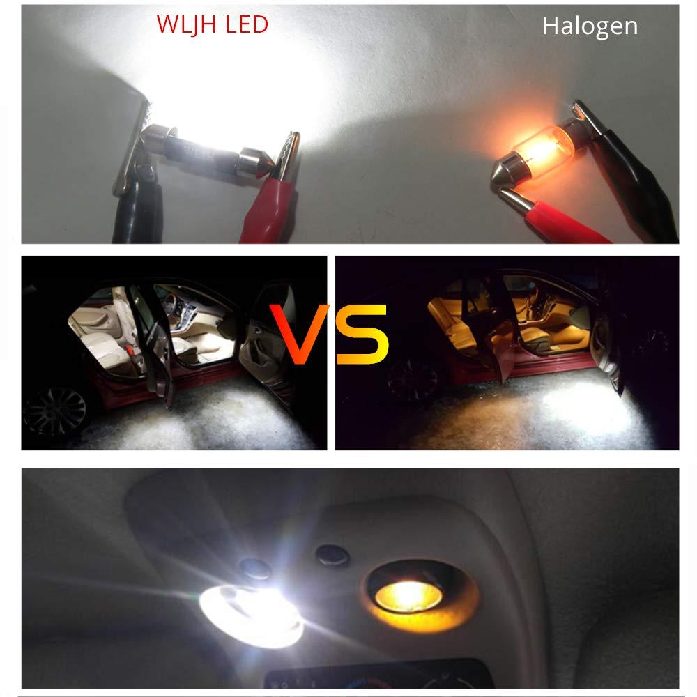 10pcs,Ice Blue WLJH 31mm Festoon LED Bulb 3528 8-SMD 3W 12V Festoon Dome Light LED Bulbs De3175 De3021 De3022 3175