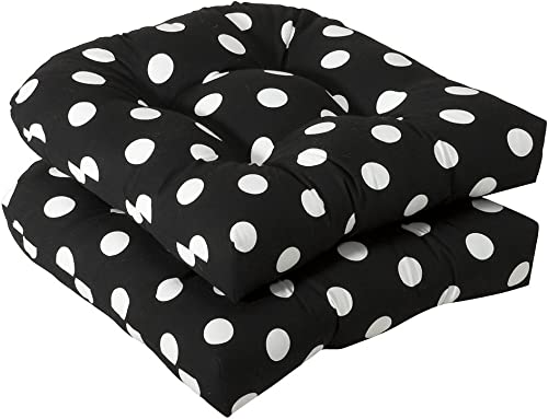Pillow Perfect Outdoor Indoor Polka Dot Tufted Seat Cushions Round Back , 19 x 19 , Black, 2 Pack