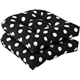 Pillow Perfect Indoor/Outdoor Black/White Polka Dot Wicker Seat Cushions, 2-Pack