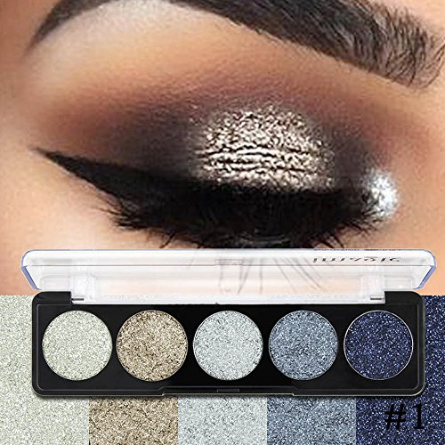 Unique Glitter Bright Colors Metallic Eye Shadow Powder Palette Matte Shimmer Professional Eye Makeup Cosmetic Pro Blendable Sparkly Pearl Light Eyeshadow Pallet,Barhalk 5 Colors,Super Pigmented (1#)