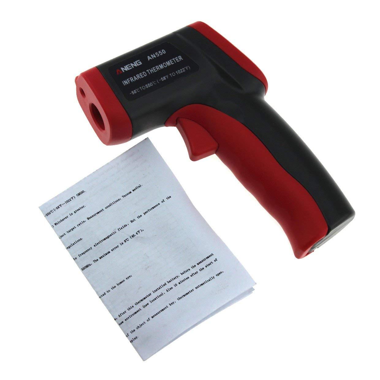 negro rojo MXECO Aneng Term/ómetro infrarrojo port/átil sin contacto de mano Term/ómetro de alta precisi/ón Pistola de temperatura industrial sin bater/ía