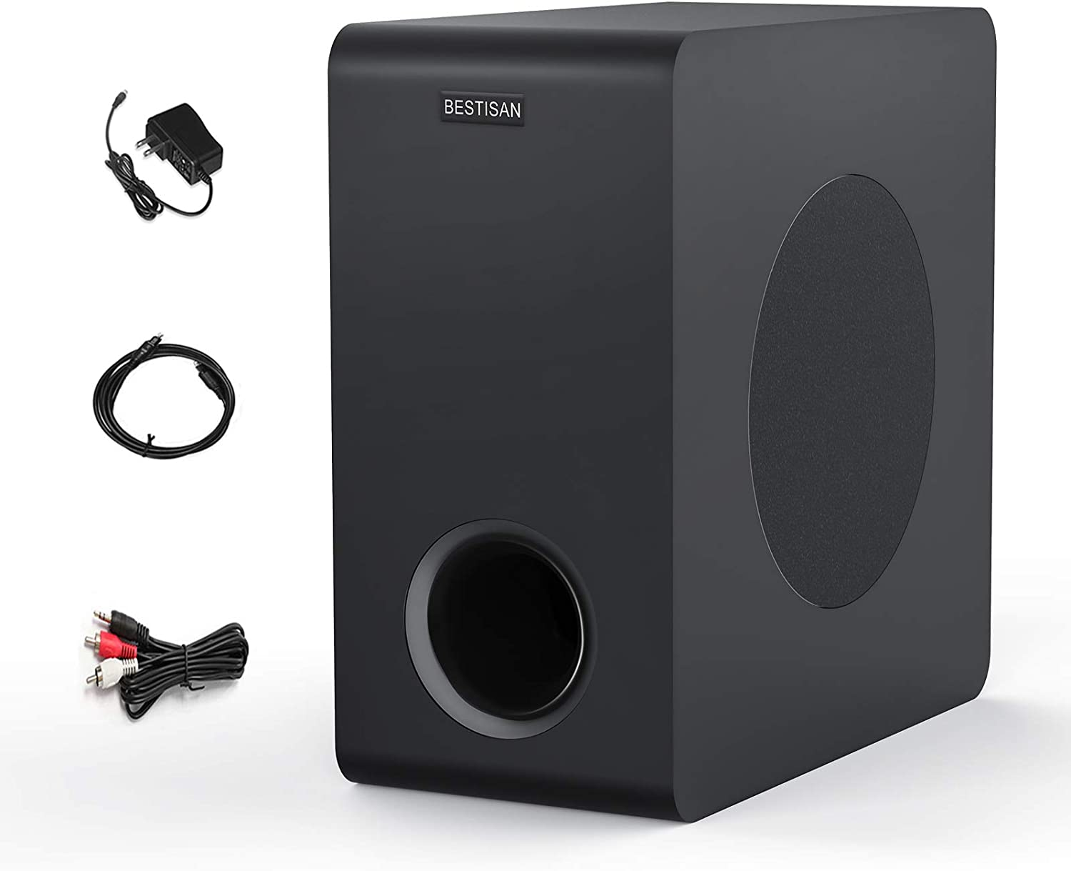 Powered Subwoofer, BESTISAN Home Audio Bluetooth Subwoofer, Deep Base, Built-in Amplifier Wireless Home Theater Subwoofer for TV, Soundbar, Optical/RCA/Bluetooth (6.5 Inch, Black)