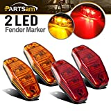 4 x 2 rv marker lights lenses - Partsam (2 Amber + 2 Red) 2.54x1.06 side marker light (amber/red lens) Truck Trailer Lights Clearance Universal