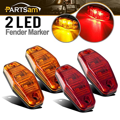 Red) 2.54x1.06 side marker light (amber/red lens) Truck Trailer Lights Clearance Universal, Surface Mount Mini Rectangle LED Marker Clearance Identification Lights Boat Marine ()