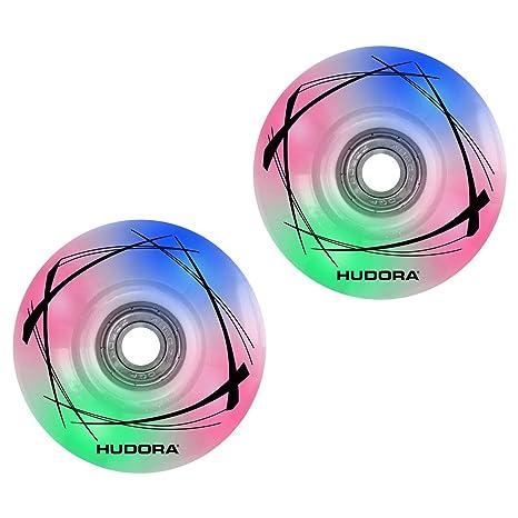 Hudora 85063 - Ruedas de Repuesto para Patines en línea, Unisex, 2 LED,