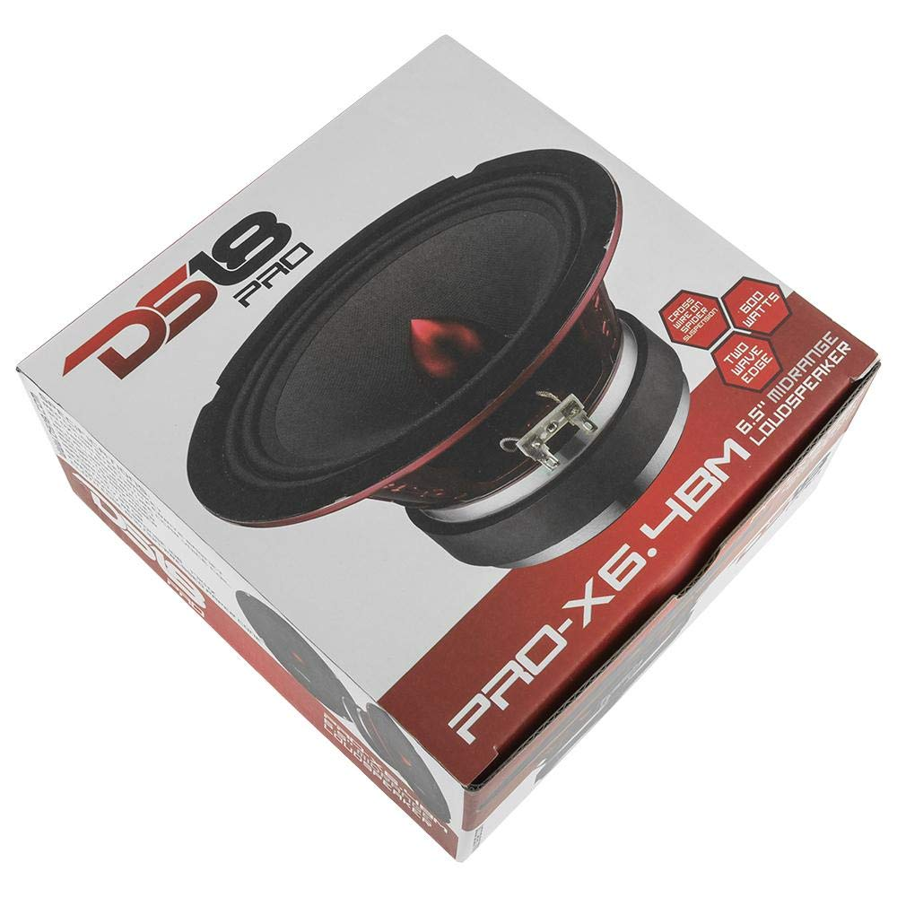 DS18 PRO-X6.4BM Loudspeaker - 6.5'', Midrange, Red Aluminum Bullet, 500W Max, 250W RMS, 4 Ohms - Premium Quality Audio Door Speakers for Car or Truck Stereo Sound System (1 Speaker)
