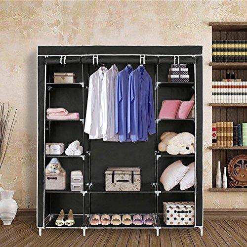Blissun 59 Portable Clothes Closet Non-woven Fabric Wardrobe Storage Organizer (Black)