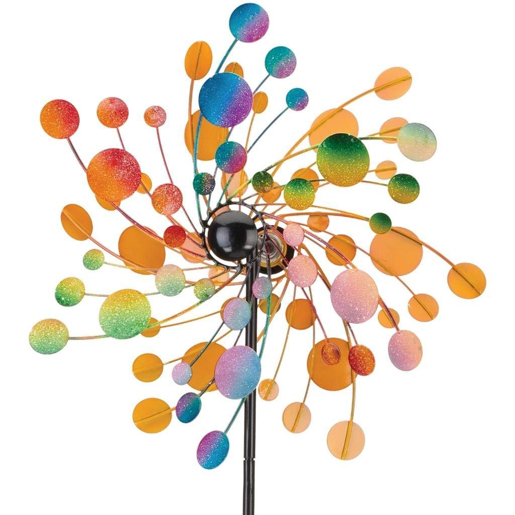 Metallwindrad - Kinetic Spinner 48cm - Confetti - Abmessung: Ø48cm Gesamthöhe: 175cm - wetterfest, pulverbeschichtet, lackiert - 3-teilig, verschraubbar - inkl. 3-zackiger Bodenverankerung Regal Art & Gift 11749