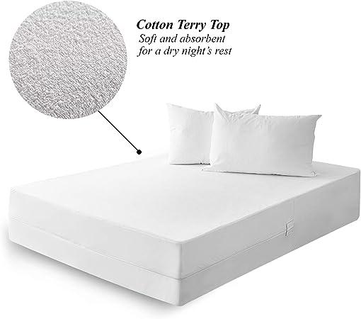 Protector de colchón – 100% algodón orgánico transpirable funda de colchón, bolsillo profundo, matrimonio: Amazon.es: Hogar