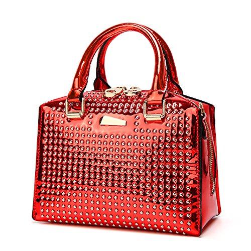 Tisdaini Bolsos de mujer bolso de cuero brillante de la PU de Boston con remache bolsa de verano 2018 Rojo