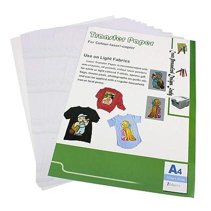 20 hojas de papel de transferencia para tela ligera, A4, papel ...