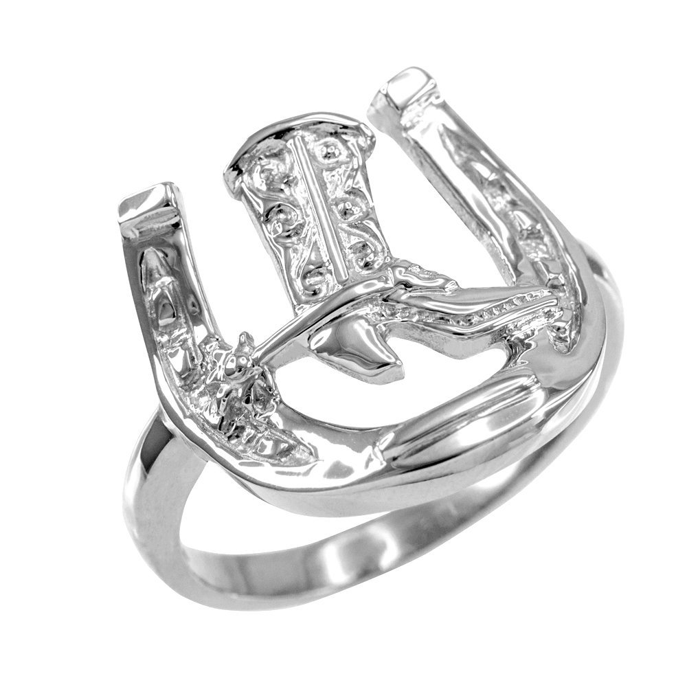 Men's 14k White Gold Lucky Horseshoe with Cowboy Boot Ring (Size 16) by Horseshoe Jewelry