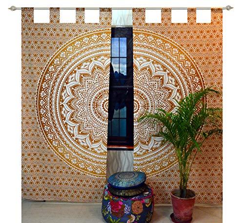 (Indian Tab top Curtain Mandala Curtains, Include 2 Panel Set Mandala Curtain, Tapestry, Drapes & Valances, Window Treatment Curtain)