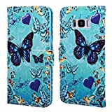 EnjoyCase Wallet Case for Galaxy S8 Plus,Colorful Blue Green Butterfly Pattern Pu Leather Bookstyle Card Slots Magnetic Flip Cover With Hand Strap for Samsung Galaxy S8 Plus