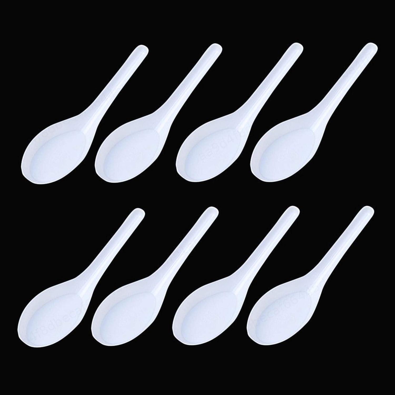 cuill/ère /à Soupe Chinoise Won 50pcs 11.5cm ALONGB Cuill/ère /à Soupe Asiatique en Plastique jetable Blanc cuill/ère ap/éritif
