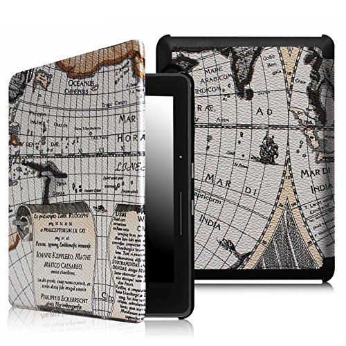 Fintie SmartShell Case for Kindle Voyage - [The Thinnest and Lightest] Protective PU Leather Cover with Auto Sleep/Wake for Amazon Kindle Voyage (2014), Map