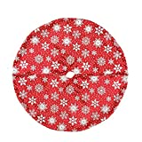 20'' Red and White Snowflake Design on Sheer Organza with Silver Glitter Mini Christmas Tree Skirt