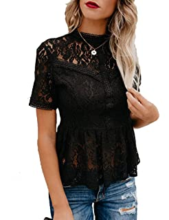 9006f68c7a713b Tobrief Women's Short Sleeve/Long Sleeve Sexy Sheer Mesh Lace Blouse Peplum  Top