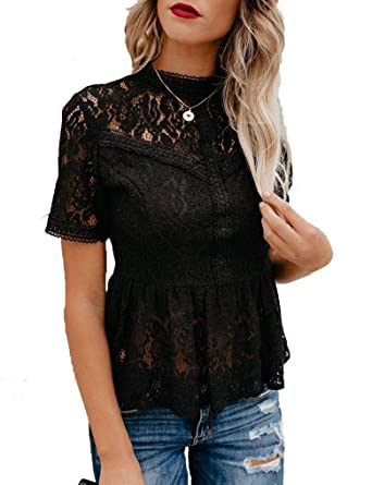 1fb621bfb7c Tobrief Women's Short Sleeve Sexy Sheer Mesh Lace Blouse Peplum Top at  Amazon Women's Clothing store: