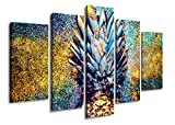 Color Large Pineapple Yellow Blue Background Creative Fruit Painting Pictures Hd Printing on Canvas Wall Art Decoration for Living Room Bedroom Ready to Hang Wood Frame 5 Panel