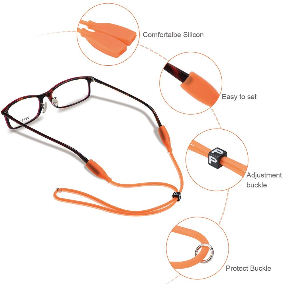 6-in-1 Eyeglasses Strap-Chains-Cord Adjustable Eyewear Retainer with 2 Pairs Ear Hooks for Reading Glasses Premium Sunglass String for Men Women Kids Sports and Outdoor Activities