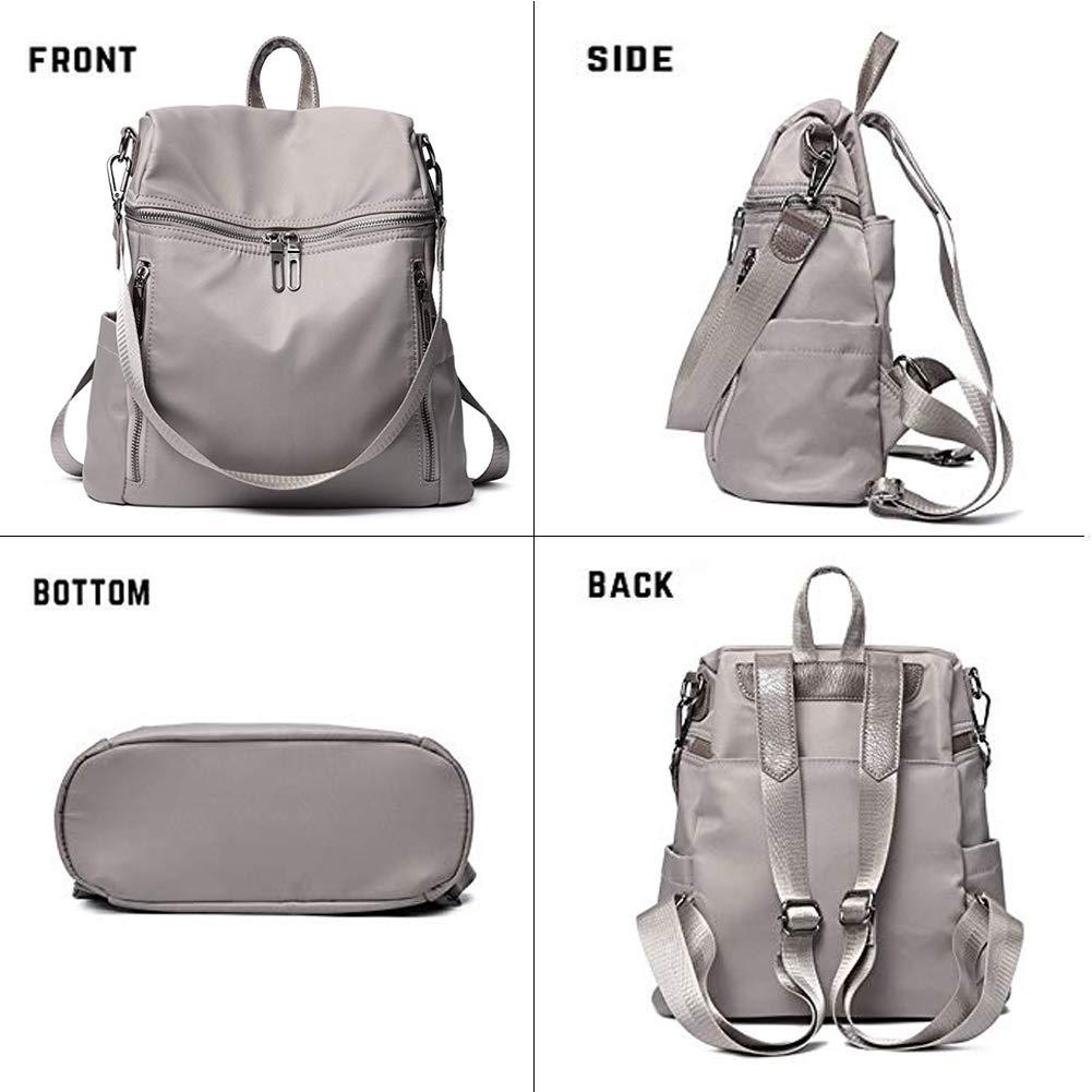 Women Backpack Purse Lightweight Fashion Canvas Ladies Handbag School Shoulder Bag Waterproof Travel Rucksack (gray) by XMeng (Image #5)