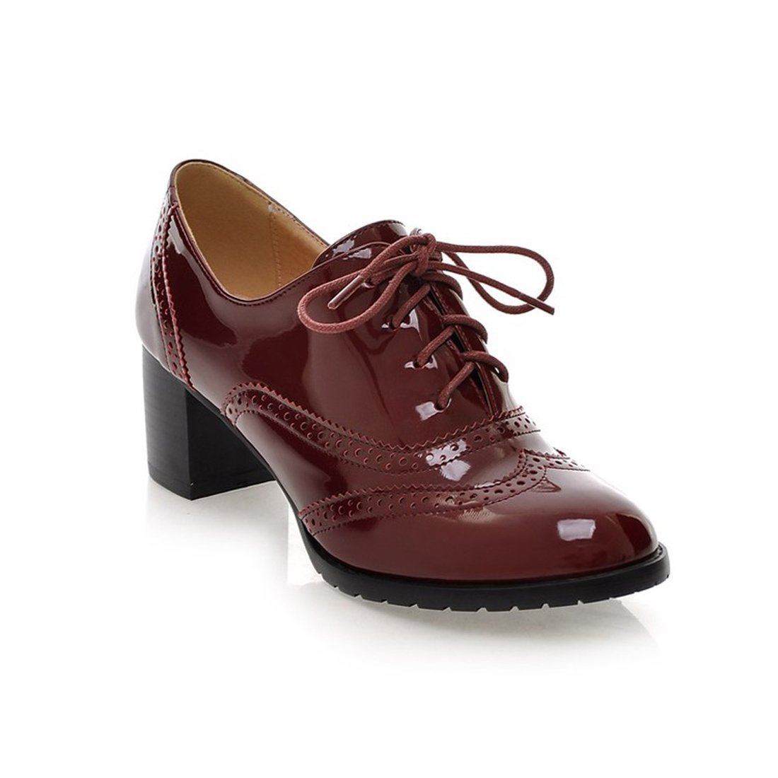 Mostrin Women's Lace up Wingtip Oxford Shoes Classic Fashion Patent Leather Chunky Heel Bootie