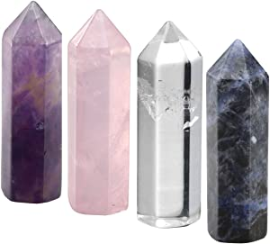 CrystalTears 4pcs Healing Crystal Single Point Wand 35mm Polished Tumbled Stone Decor- Amethyst/Clear Quartz/Rose Quartz/Sodalite