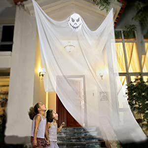 AOFOX Halloween Hanging Ghost Prop Hanging Skeleton Flying Ghost, Halloween Hanging Decorations for Yard Outdoor Indoor Party Bar, 3.3m/10.8ft Long (White)