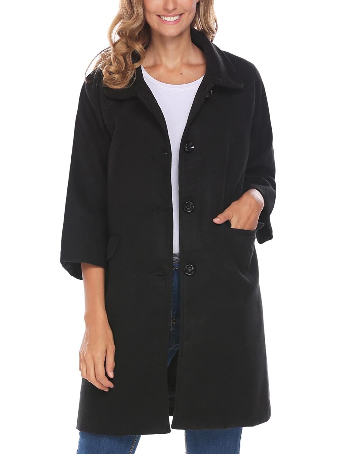 BEAUTYTALK Womens Winter Outdoor Classic Wool Blended Trench Coat Jacket OMH024314*