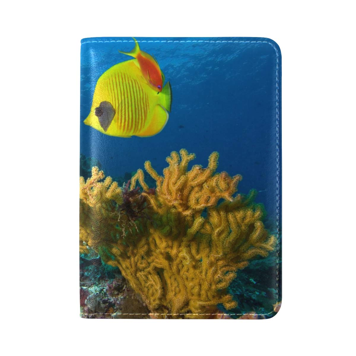 Fishes Tropical Ocean Sea Underwater One Pocket Leather Passport Holder Cover Case Protector for Men Women Travel