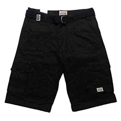 Pro Club Mens Cargo Shorts with Belt Black 44