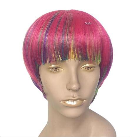 De la Mujer Casual Corto arco iris multicolor Bob peluca de Cosplay con Cap