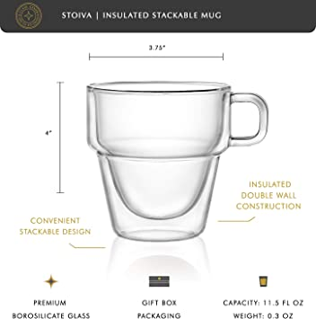 Ideal for Hot and Cold Drinks Sleek Modern Design Set of 4 Cappuccinos Large Mugs for Coffee Tea Stackable 11.5 oz Glasses Set with Handle Latte Stoiva Double Wall Insulated Coffee Mugs