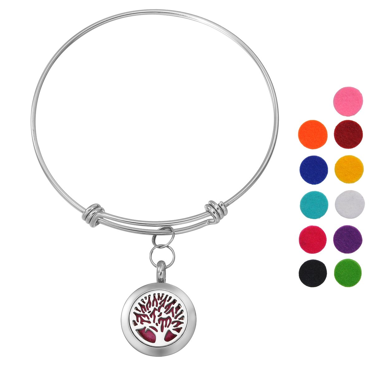 Stainless Steel Aromatherapy Essential Oil Diffuser Bracelet with Pierced, Silver Tone Supreme glory Necklace1011A72
