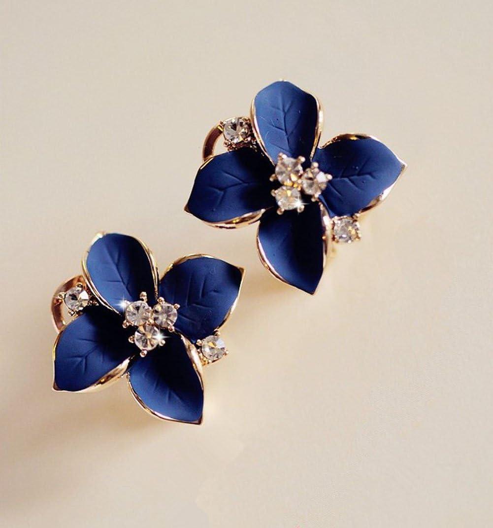 Wicemoon Clous doreille Fleur Bleue Feuilles /Él/égant Boucles doreilles pour Femmes Filles Bijoux de F/ête