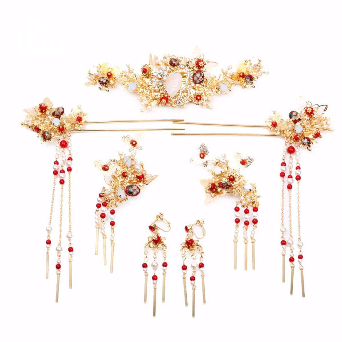 Wedding Crown, Beautiful headdress/The Bride'S Chinese Xiu Wo Headwear Tassel Hairpin Hairpin Earrings Hair Ornament Phoenix Crown Costume Accessories