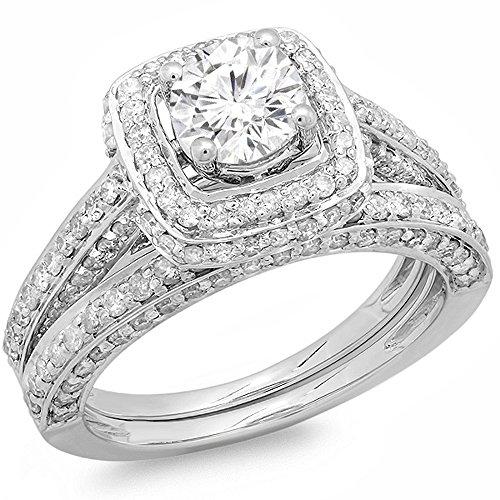 2.00 Carat (ctw) 14k White Gold Round Diamond Ladies Halo Style Bridal Engagement Ring Matching Set 2 CT