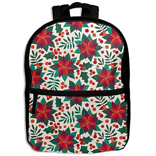 Lightweight Travel School Backpack Poinsettia(100) For Girls Teens Kids