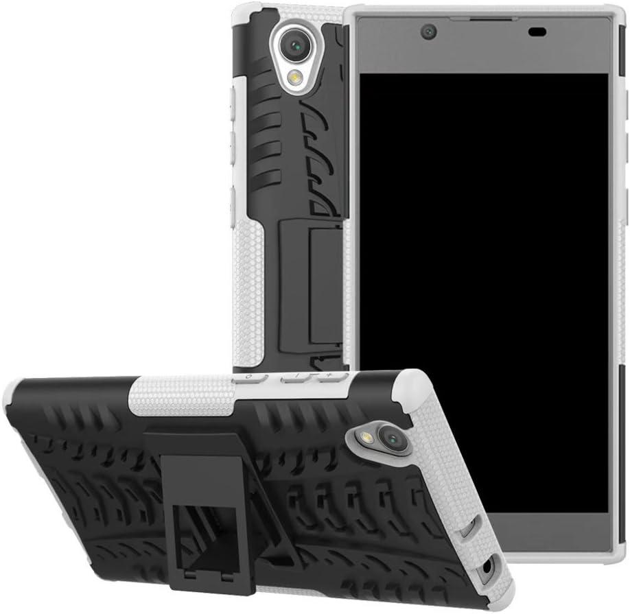 SANHENGMIAO COVER para el Caso del teléfono y la Cubierta para Sony Xperia L1 Hyun Soporte de Armadura Mixta de Doble Capa 2 Juegos 1 Juego de armazones a Prueba de Golpes (Color : Blanco)