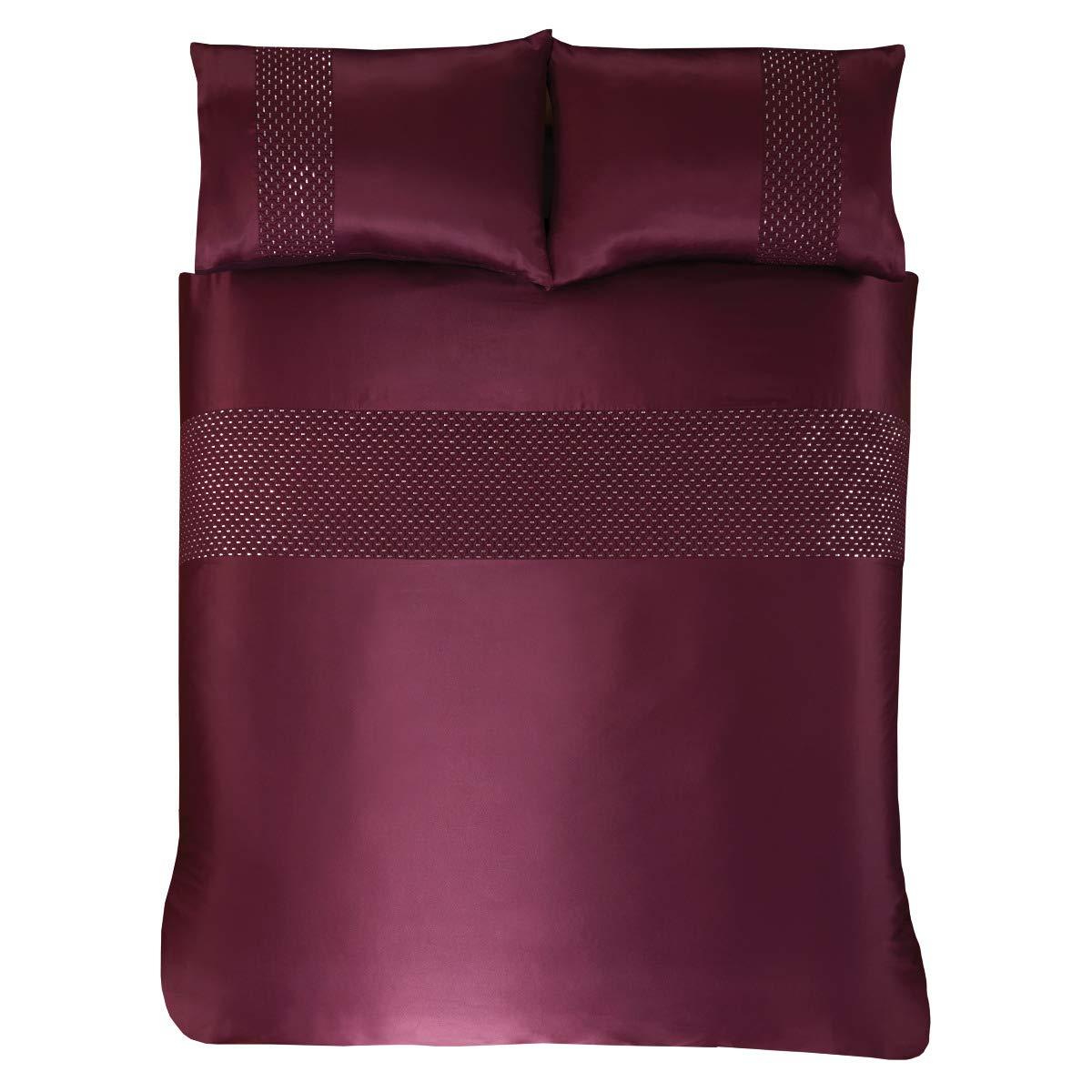 Blush Double Duvet Cover Set and Pillowcases Subtle Sequins Bedding Set