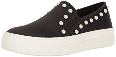 Steve Madden Women's Glacier Fashion Sneaker, Black Satin, ...